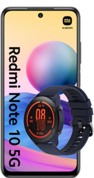Oferta de Xiaomi Redmi Note 10 5G 128GB gris + Mi Watch azul por 252€