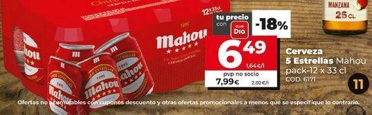 Oferta de Cerveza Mahou por 6,49€