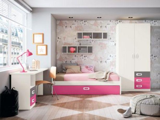 Oferta de Dormitorio juvenil completo BLANCO PORO – FUCSIA – GRIS TORMENTA por 852,23€