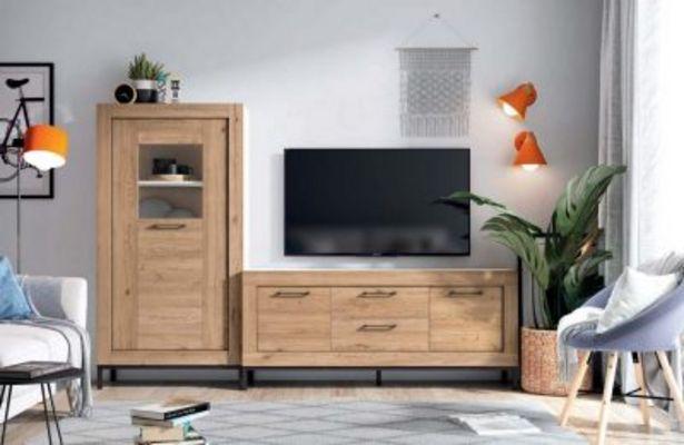 Oferta de Mueble de salón moderno blanco mate y bocamina por 543,53€