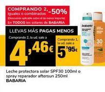 Oferta de Leche protectora solar SPF30 100 ml o spray reparador aftrersun 250ml BABARIA por 5,95€