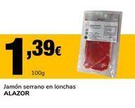 Oferta de Jamón serrano en lonchas ALAZOR por 1,39€