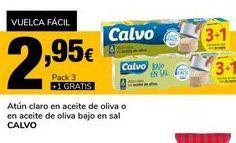 Oferta de Atún claro en aceite de oliva o en aceite de oliva bajo en sal CALVO por 2,95€