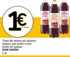 Oferta de Tinto de verano sinn alcohol clasico, con limon o con limon sin azucar por 1€