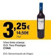 Oferta de Vino tinto crianzaa D.O. Toro prestigio CYAN por 3,25€