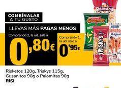 Oferta de Risketos,120 g, Triskys 115g, Gusanitos 90g o Palomitas 90g RISI por 0,95€