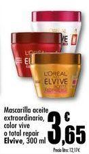 Oferta de Mascarilla aceite extraordinario, color vive o total repair  Elvive, 300 ml por 3,65€