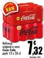 Oferta de Refresco original o zero Coca-Cola, pack 12 x 33 cl por 7,32€