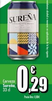 Oferta de Cerveza Sureña, 33 cl por 0,29€