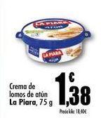 Oferta de Crema de lomos de atún La Piara, 75 g por 1,38€