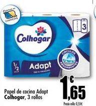 Oferta de Papel de cocina Adapt Colhogar, 3 rollos por 1,65€