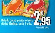 Oferta de Helado Suma pasión o fresa clásica Kalise, packs 3 uds. por 2,95€