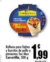 Oferta de Relleno para fajitas y burritos de pollo y pimientos Tex Mex Carretilla, 300 g por 1,99€