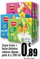 Oferta de Zumo fruta + leche distintos sabores Juver, pack 6 x 200 ml por 0,89€