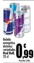 Oferta de Bebida energética distintas variedades Red Bull, 25 cl por 0,99€