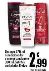 Oferta de Champú 370 ml acondicionador o crema suavizante 300 ml distintas variedades Elvive por 2,99€