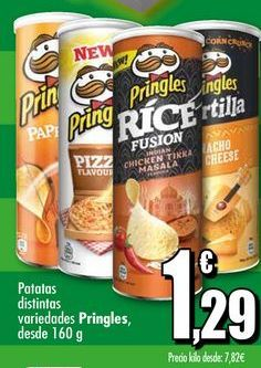 Oferta de Patatas distintas variedades Pringles, desde 160 g por 1,29€