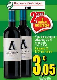 Oferta de Vino tinto crianza Alcorta, 75 cl por 3,05€