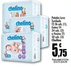 Oferta de Pañales Love Tumbado T3 36 uds.(1), Gateo T4 34 uds.(2) o Pasitos T5 30 uds. (3) Chelino por 5,75€