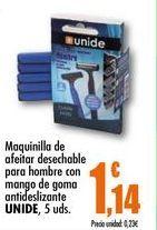 Oferta de Maquinilla de afeitar desechable para hombre con mango de goma antideslizante Unide, 5 uds por 1,14€