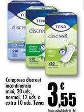Oferta de Compresa discreet incontinencia mini, 20 uds. o extra 10 uds. Tena por 3,55€