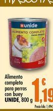 Oferta de Alimento completo para perros con buey Unide, 800 g por 1,19€