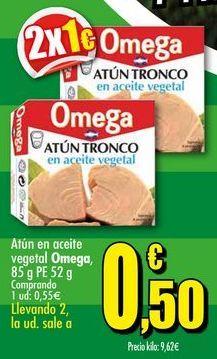 Oferta de Atún en aceite vegetal Omega, 85 g PE 52 g por 0,5€