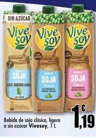 Oferta de Bebida de soja clásica, ligera o sin azúcar ViveSoy, 1 L por 1,19€