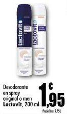 Oferta de Desodorante en spray original o men Lactovit, 200 ml por 1,95€