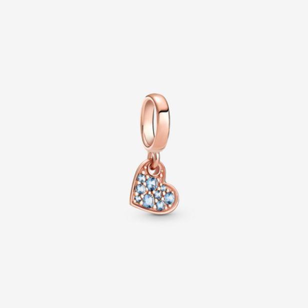 Oferta de Charm Colgante Corazón Inclinado de Pavé Azul Claro por 39€