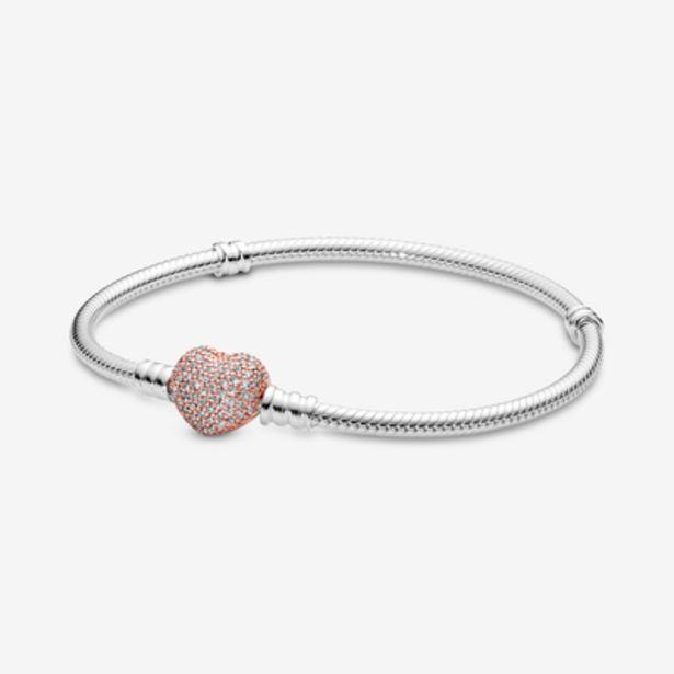 Oferta de Pulsera Moments Pandora Rose con cierre corazón para charms por 99€