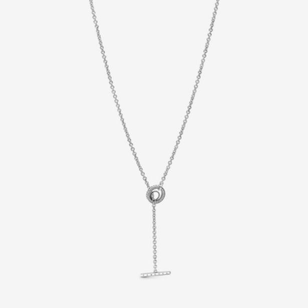 Oferta de Collar en T Corazón y Logo Círculo en Pavé por 99€
