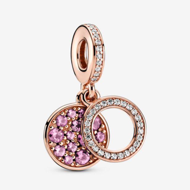 Oferta de Charm Colgante Doble Disco Rosa Brillante por 69€