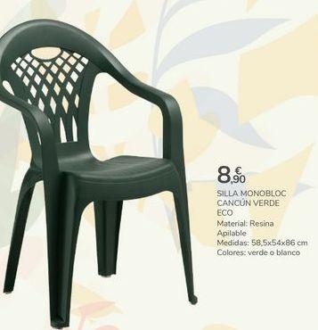Oferta de SILLA MONOBLOC CANCÚN VERDE ECO por 8,9€