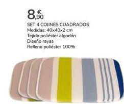 Oferta de SET 4 COJINES CUADRADOS por 8,9€