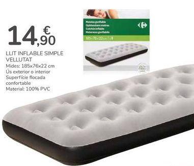 Oferta de CAMA HINCHABLE SIMPLE ATERCIOPELADA por 14,9€