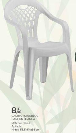 Oferta de SILLA MONOBLOC CANCÚN BLANCO por 8,9€