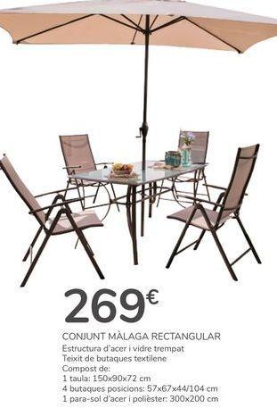 Oferta de CONJUNTO MÁLAGA RECTANGULAR por 269€