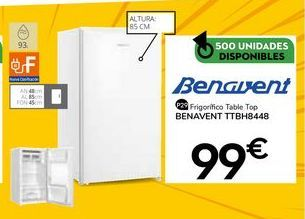 Oferta de Frigoríficos Benavent por 99€