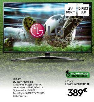 Oferta de Tv led LG por 389€