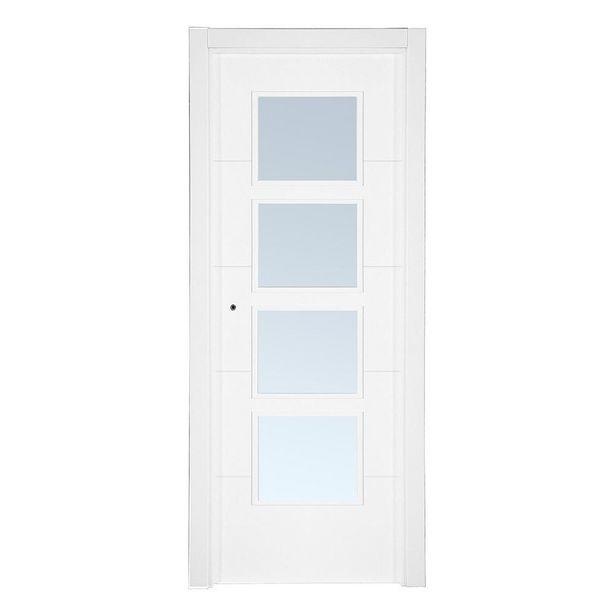 Oferta de Puerta acristalada Bruselas lacada blanca derecha 203 x 72,5 cm por 219€
