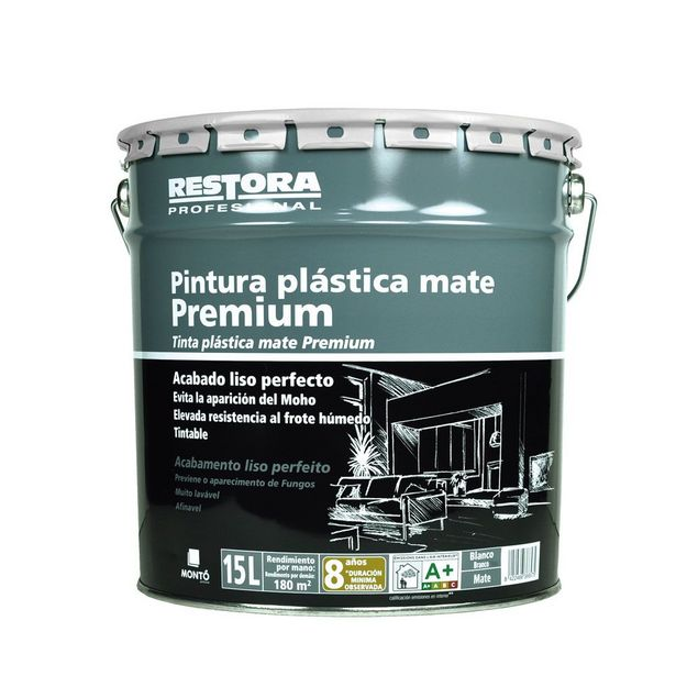 Oferta de RESTORA PREMIUM PINTURA PLÁSTICA BLANCA MATE 15 L por 35,95€