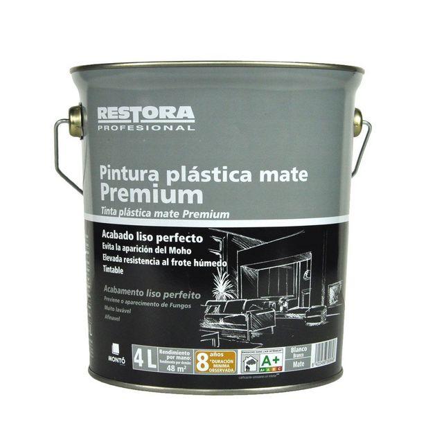 Oferta de RESTORA PREMIUM PINTURA PLÁSTICA BLANCA MATE 4 L por 12,95€