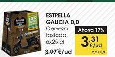Oferta de ESTRELLA GALICIA 0,0 Cerveza tostada, 6x25 cl por 3,31€