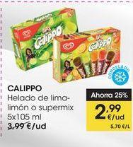 Oferta de CALIPPO Helado de lima-limón o supermix 5x105 ml por 2,99€