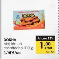 Oferta de DORNA Mejillón en escabeche, 111 g por 1€