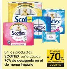 Oferta de En los productos SCOTTEX señalizados, 70% de descuento en el de menor importe por