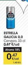 Oferta de ESTRELLA GALICIA 0,0 Cerveza, 33 cl por 0,47€