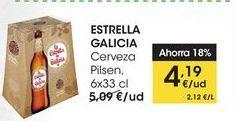 Oferta de ESTRELLA GALICIA Cerveza Pilsen, 6x33 cl por 4,19€