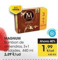 Oferta de MAGNUM Bombon de almendras, 3+1 unidades,  440 ml por 1,99€